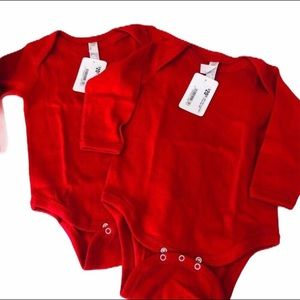 NWT 2 Rabbit Skins Red Bodysuit Onesie Baby 12 18